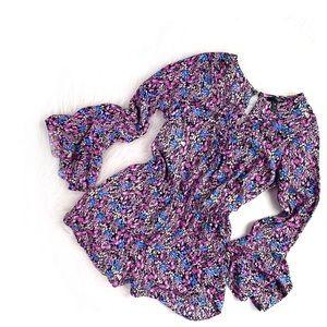 AQUA | violet garden floral longsleeve romper